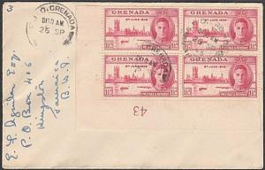 GRENADA 1946 Victory 1½d plate block used on cover to Jamaica..............54773