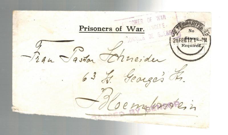 1917 fort napier natal south africa prisoner of war camp cover pow