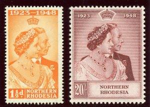 Northern Rhodesia 1948 KGVI Silver Wedding set complete MLH. SG 48-49. Sc 48-49.