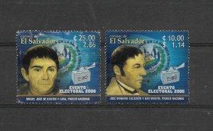 EL SALVADOR 2006 ELECTIONS, DEMOCRACY COAT AND FLAGS, 2 VALUES USED MICHEL 2420