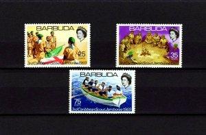 BARBUDA - 1969 - BOY SCOUT - 3rd CARIBBEAN JAMBOREE - FLAG - ROWING + MNH SET!