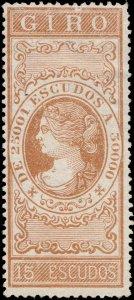 ESPAGNE / SPAIN / ESPAÑA 1867 Sello Fiscal (GIRO) 15 Escudos castaño - Sin Goma