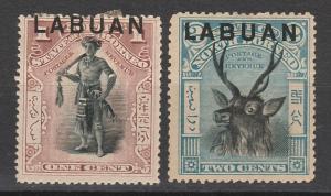 LABUAN 1897 PICTORIAL 1C AND 2C PERF 14.5 -15