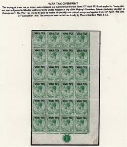 Gibraltar 1918 Early Issue Fine Mint Hinged 1/2d. War Optd Block 295872