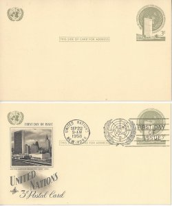 United Nations New York UX2 Postal Card Mint and Artcraft FDC