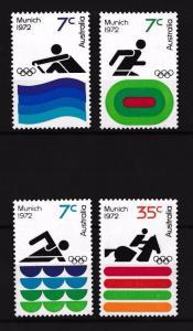 [42965] Australia 1972 Olympic games Munich Equestrian Rowing Swimming MNH