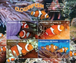 YEAR 2019-MARSHALL ISLANDS - CLOWNFISH  4V complet set    MNH ** T