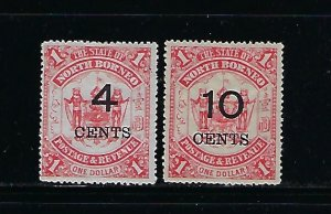 NORTH BORNEO SCOTT #74-75 1895 SURCHARGES 4C ON $1- 10C ON $1 MINT HINGED