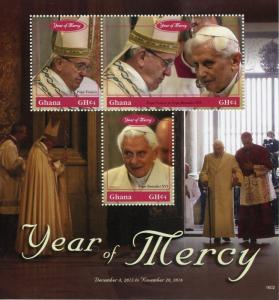 Ghana Popes Stamps 2016 MNH Year of Mercy Pope Benedict XVI Frances 3v M/S