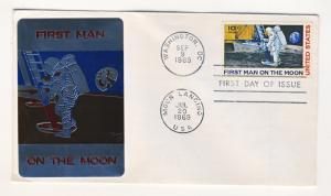 US - 1969 - Scott C76 FDC - SARGIN metallic cachet 1st Man in the Moon