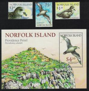 Norfolk Birds Endangered Species Solander's Petrel 'Providence Petrel' 3v+MS