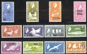 South Georgia Sc# 17b-30b MNH (WMK 373) 1971-1972 Surcharged Definitives