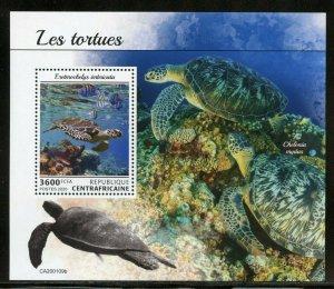 CENTRAL AFRICA 2020  TURTLES  SOUVENIR SHEET MINT NH