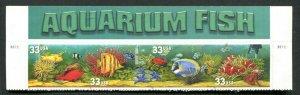 1998 3317 - 3320 Aquarium Fish Top Header Strip of 4 MNH