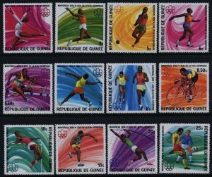 Guinea 706-17 MNH Montreal Olympics, Athletics, Gymnastics, Cycling, Soccer