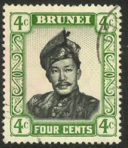 BRUNEI 1952 4c Sultan Omar Ali Saifuddin Scott No. 86 VFU