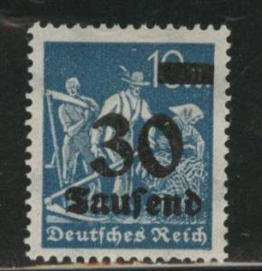 Germany Scott 248 MH* 1924 surcharged stamp Hinge remnant