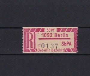 EARLY BERLIN REGISTRATION STAMP MINT FULL GUM  R3773