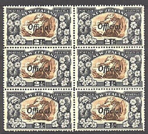 NEW ZEALAND OFFICIAL 1936 2½d line perf 14 SGO124a MNH blk of 6 cat £84..93832a