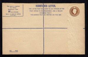 GREAT BRITAIN: Mint Registered Envelope, Huggins # RP58 BE & W ltd Cat 150.00
