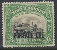 North Borneo SG D53 MH 3c Opt Postage Due  see details and scans