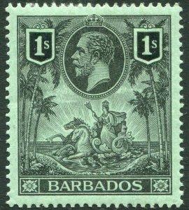 BARBADOS-1912 1/- Black/Green Sg 178 MOUNTED MINT V33816