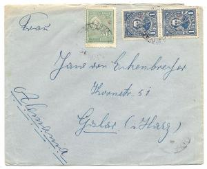 PARAGUAY TO GERMANY 1927-39 INTERIOR OFFICE ISSUES ON COVER, 50c+2x19 RATE RED C