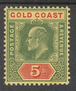 GOLD COAST 1907 KEVII 5/- TOP VALUE