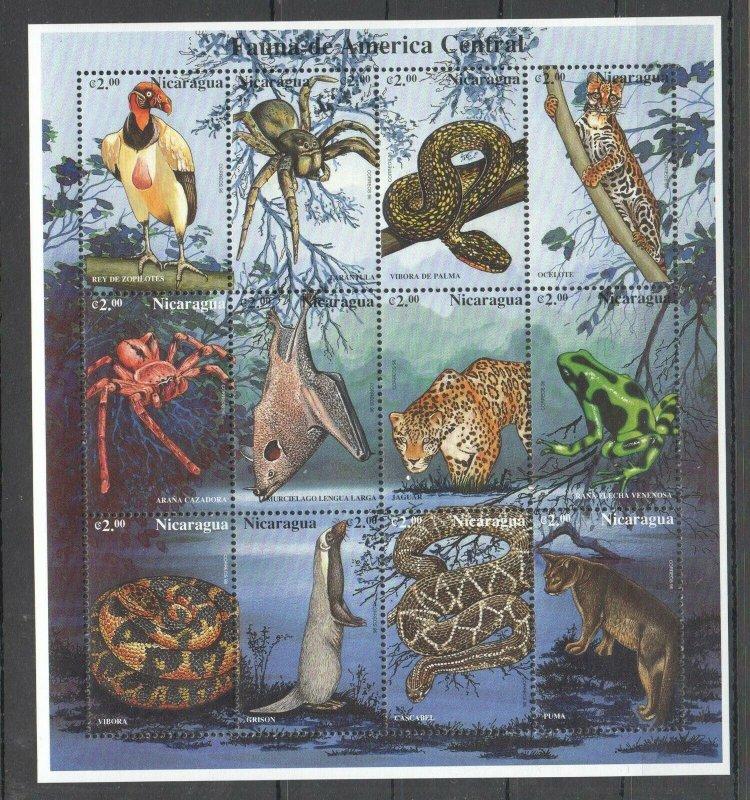 PK204 NICARAGUA FAUNA CENTRAL AMERICA ANIMALS BIRDS REPTILES 1SH MNH STAMPS