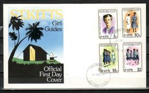 St. Kitts, Scott cat. 82-85. 50th Anniversary of Girl Guides. First day cover.