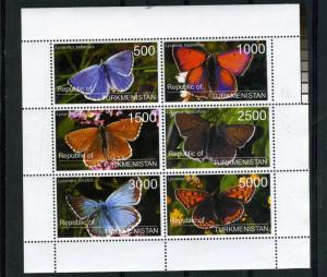 Turkmenistan 1998 Butterflies Sheet Perforated mnf.vf