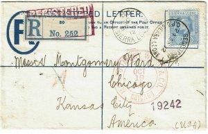 Sierra Leone 1912 Bo cancel on registry envelope to the U.S.