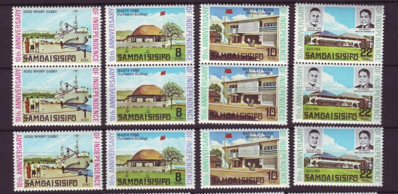J19631 Jlstamps 1972 samoa set + pairs mnh #357-60 designs