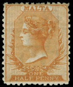 MALTA SG15, ½d Yellow Orange PERF 12½, M MINT. Cat £400.