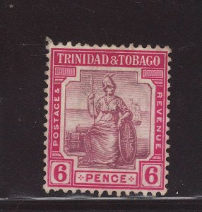 1913 Trinidad 6d Wmk Mult Crown CA Good/Fine Used SG153