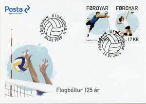 Faroe Islands Faroes Sports Stamps 2020 FDC Volleyball 125 Years 2v Set