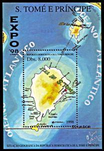 Saint Thomas and Prince 1331, MNH, Expo '98 Lisbon souvenir sheet, Map