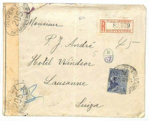 URUGUAY WW1 TRANSATLANTIC Registered Switzerland French Military Censor 1917 J25