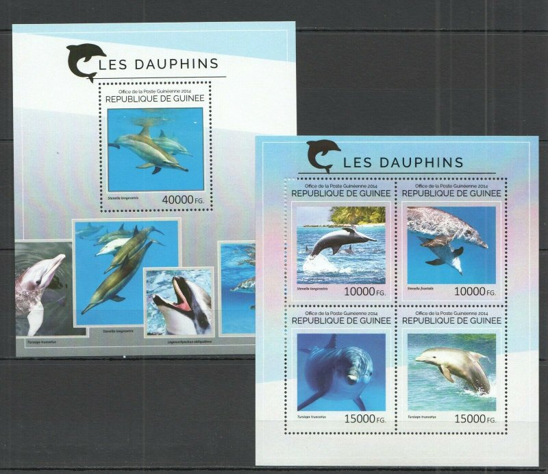 ST713 2014 GUINEA FAUNA MARINE LIFE DOLPHINS KB+BL MNH STAMPS