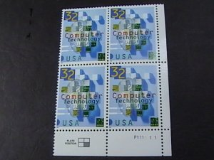 US # 3106-MINT/NEVER HINGED--LR--PLATE # BLOCK OF 4--COMPUTER TECH--1996