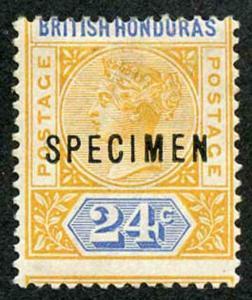 British Honduras SG60s 24c with large upward PERF SHIFT Opt SPECIMEN M/M