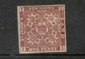 Newfoundland #1 Mint Very Fine Full Original Gum Hinged