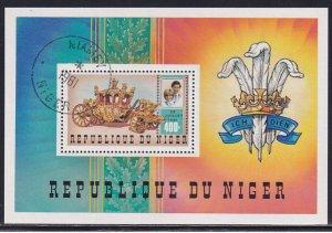 Niger 1981 Sc 551 Royal Coach Prince Charles Lady Diana Wedding Stamp SS CTO NH