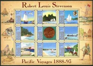 MARSHALL IS. Sc#190 1988 Robert Louis Stevenson Author Souvenir Sheet Set OG MNH