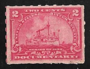 R164 2 cents Documentary Battleship Stamps unused OG H XF