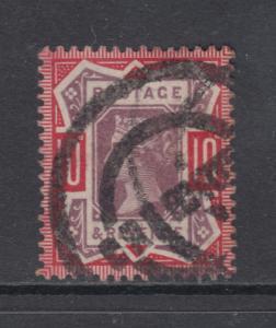 Great Britain Sc 121 used 1890 10p carmine rose & lilac Queen Victoria, bold x