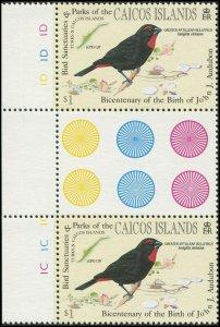 Turks & Caicos Islands 1985 Sc 63 Gutter Pair Birds Bullfinch