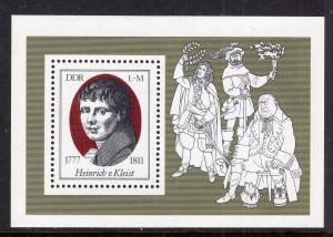 DDR #1855 MNH S/S CV$2.10 Kleist Playwright