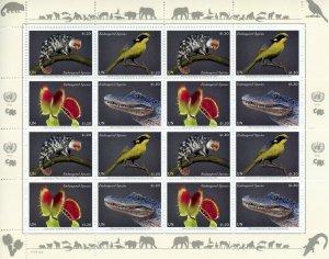 New York United Nations UN Stamps 2021 MNH Endangered Species Birds 16v M/S