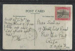 DOMINICA  COVER (P1902B)  1908  1 D  ON PPC TO ENGLAND